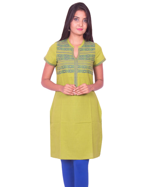 Pear Green South Cotton Dobby Straight Cut Kurti from Joshuahs