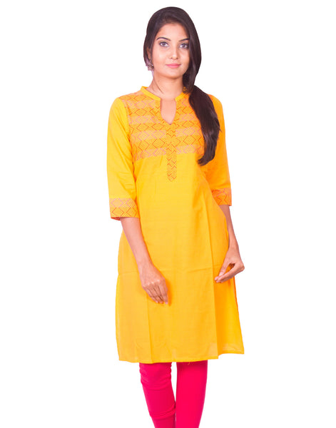 Golden Yellow South Cotton Dobby Long Sleeve Kurti from Joshuahs