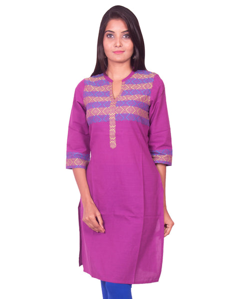 Pansy Purple South Cotton Dobby Straight Cut Long Sleeve Kurti from Joshuahs