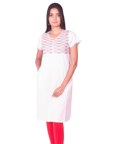 White South Cotton Dobby Kurti from Joshuahs