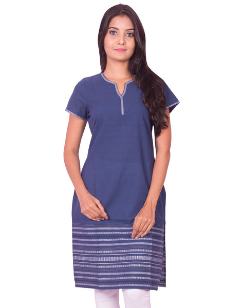 Prussian Blue South Cotton Dobby Kurti from Joshuahs
