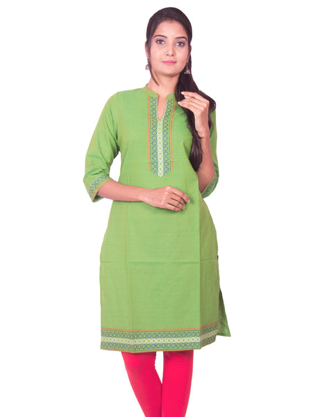 Pear Green South Cotton Dobby Long Sleeve Kurti from Joshuahs