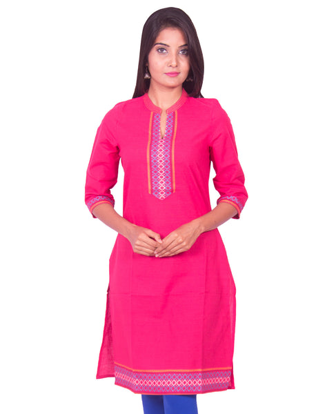 Peony Pink South Cotton Dobby Straight Cut Long Sleeve Kurti from Joshuahs