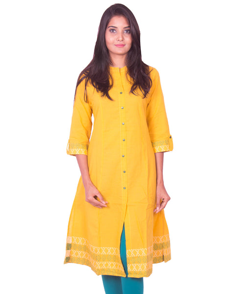 Yellow South Cotton Dobby Long Sleeve Princess Cut Kurti from Joshuahs