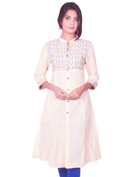 Off White Cotton Dobby Long Sleeve Princess Cut Kurti from Joshuahs