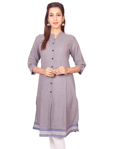 Grey South Cotton Dobby  Princess Cut Kurti from Joshuahs