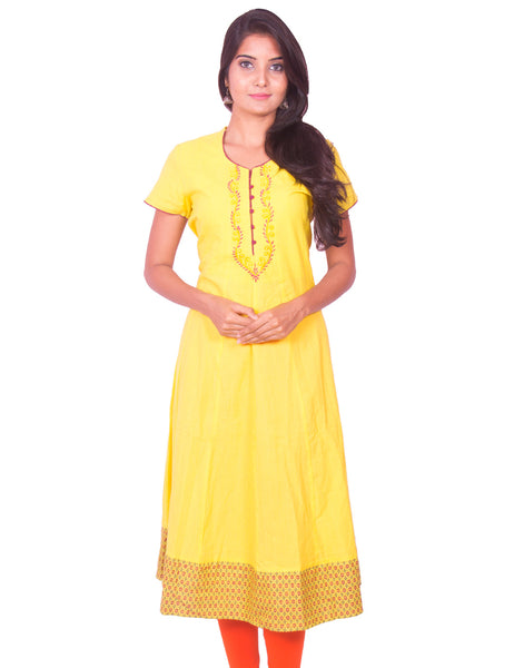 Lemon Yellow Cotton Dobby Anarkali Kurti from Joshuahs