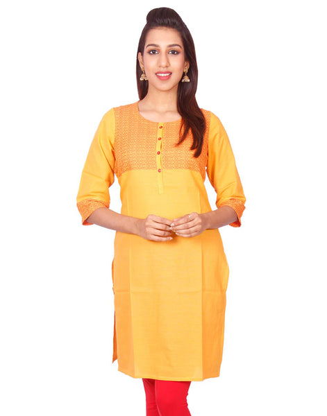 Golden Yellow South Cotton Dobby Straigh Cut Kurti from Joshuahs