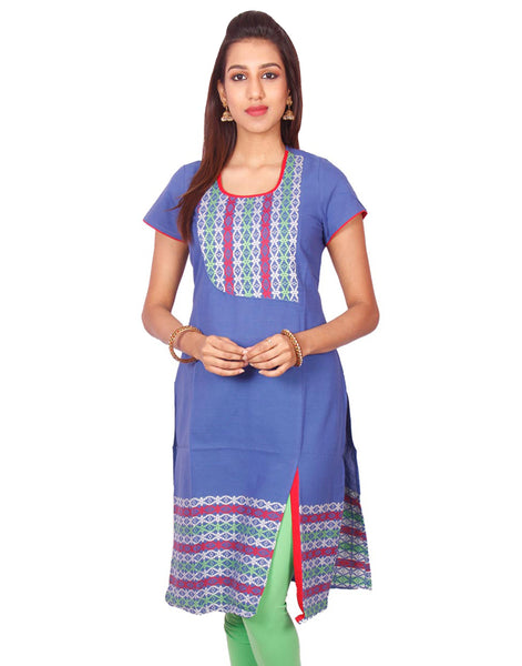 Prussian Blue South Cotton Dobby Straigh Cut Kurti from Joshuahs