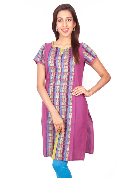 Purple  South Cotton Dobby Straigh Cut Kurti from Joshuahs