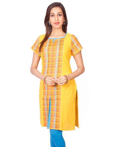 Yellow  South Cotton Dobby Straigh Cut Kurti from Joshuahs