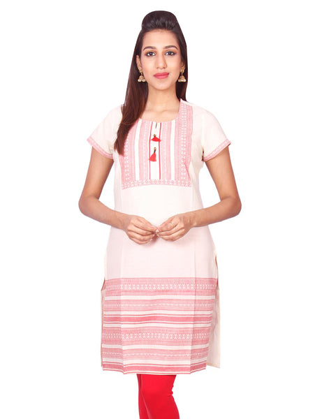 White  South Cotton Dobby Straigh Cut Kurti from Joshuahs