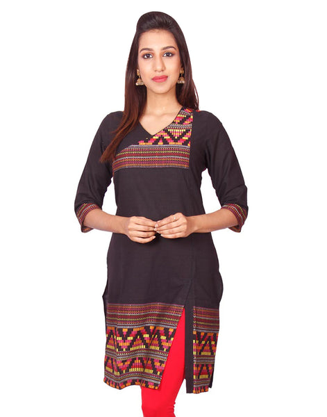 Black  South Cotton Dobby Straigh Cut Kurti from Joshuahs