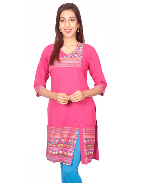 Pink  South Cotton Dobby Straigh Cut Kurti from Joshuahs