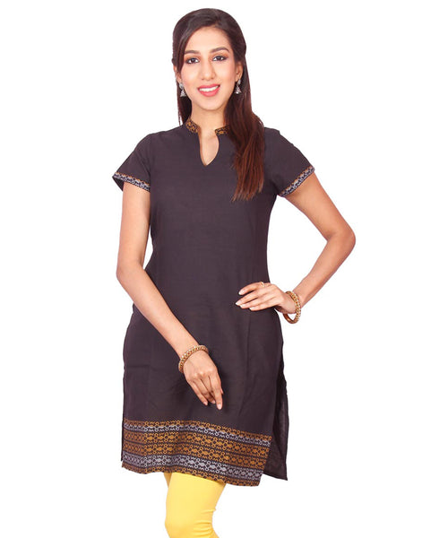 Black & Gold  South Cotton Dobby Straigh Cut Kurti from Joshuahs