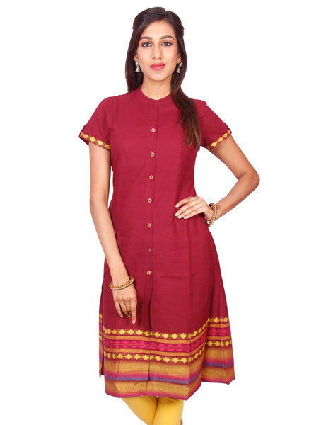 Maroon  South Cotton Dobby Straigh Cut Kurti from Joshuahs