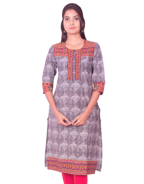 Black Jaipur Print Kurthi Long Sleeve from Joshuahs