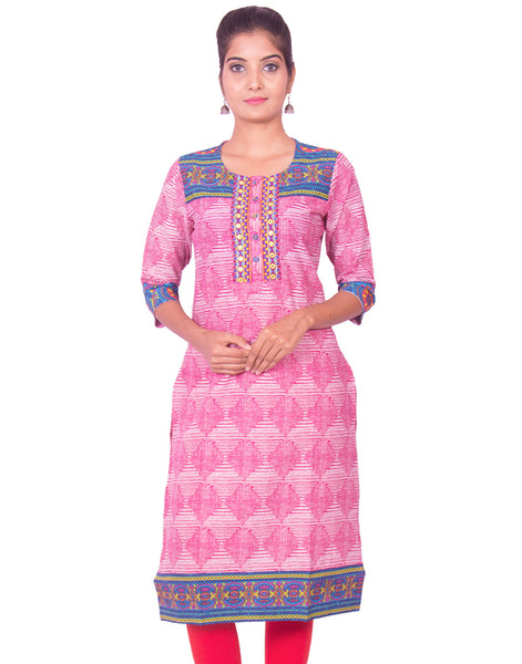 Magenta Jaipur Print Kurthi Long Sleeve Staright Cut Kurti from Joshuahs