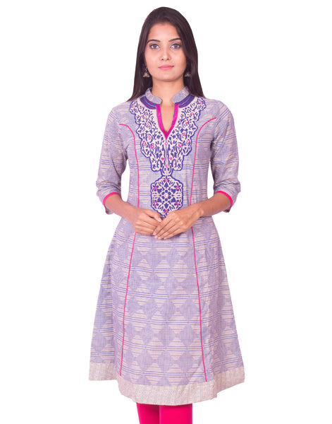 Printed Chiku With Pink Embroidery Anarkali Long Sleeve Kurti from Joshuahs