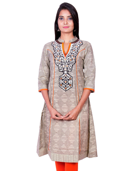 Printed Chiku With Orange Embroidery Anarkali Kurti from Joshuahs