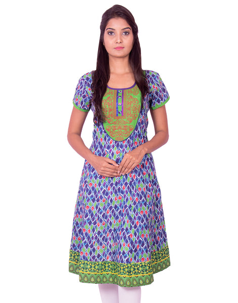Blue Printed with  Embroidery Work Anarkali Kurti from Joshuahs