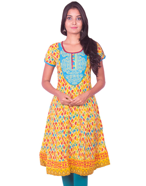 Yellow Printed with  Embroidery Work Anarkali Kurti from Joshuahs