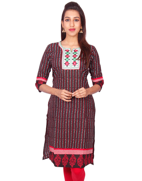 Casual Printed Long Sleeve Straight Cut Kurti From Joshuahs