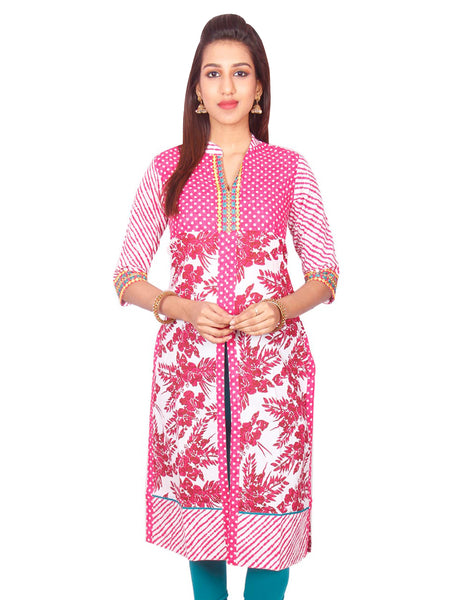 Pink Printed High Neck  with Front Slit Kurti from Joshuahs