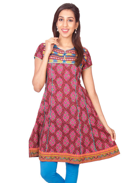 Maroon Printed Short Sleeve Anarkali Kurti from Joshuahs