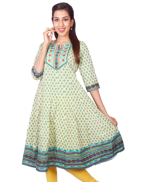 Casual Green Printed Long Sleeve Wide Flared Kurti from Joshuahs