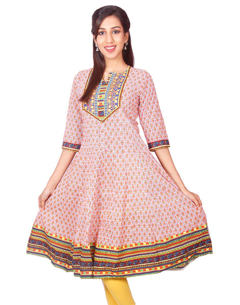 Casual Orange Printed Long Sleeve Wide Flared Kurti from Joshuahs