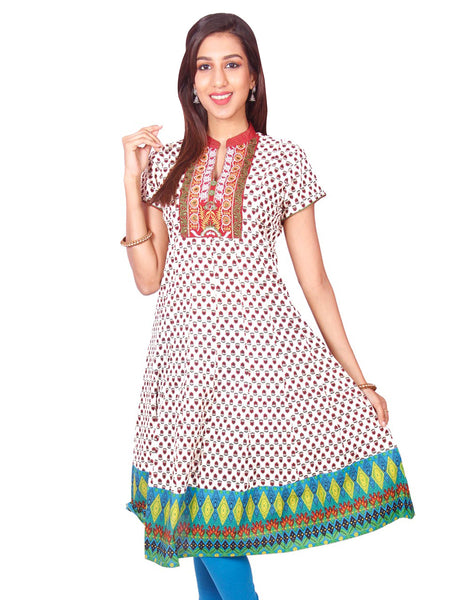 Casual Printed Short Sleeve Wide Flared Kurti from Joshuahs