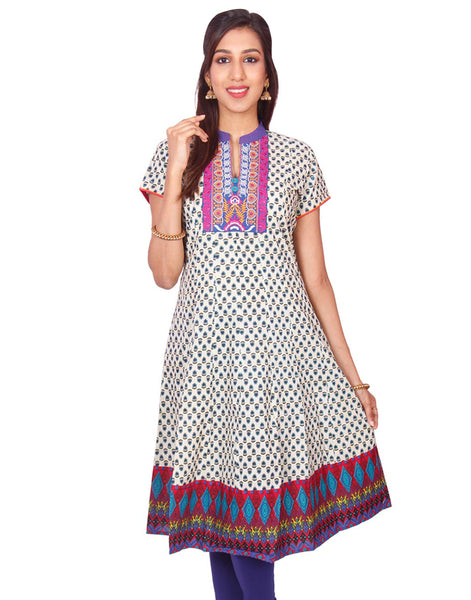 Casual Blue Printed Short Sleeve Wide Flared Kurti from Joshuahs