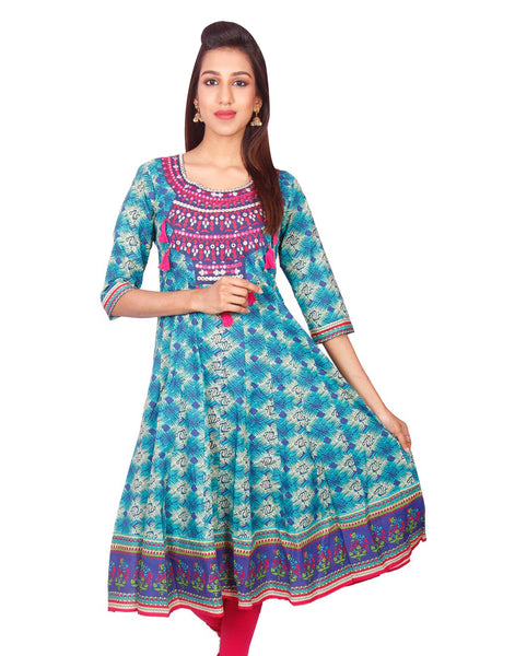 Casual Turquoise Printed Long Sleeve Wide Flared Kurti from Joshuahs