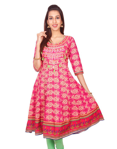 Casual Pink Printed Long Sleeve Wide Flared Kurti from Joshuahs