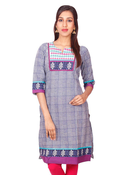 Navy Blue Casual Printed Long Sleeve Wide Flared Kurti from Joshuahs
