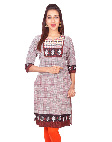 Brown Casual Printed Long Sleeve Wide Flared Kurti from Joshuahs