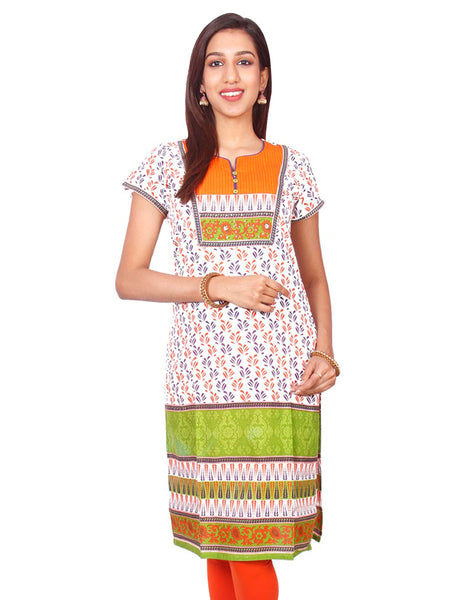 Printed Short Sleeve Pure Cotton Kurti from Joshuahs