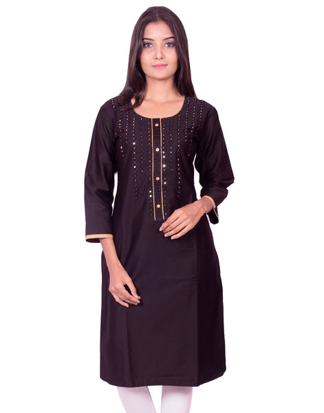 Jet black with mirror work cotton satin straight-cut kurti from joshuahs