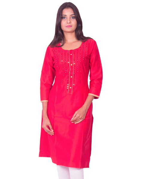 Crimson red with mirror work cotton satin straight-cut kurti from joshuahs