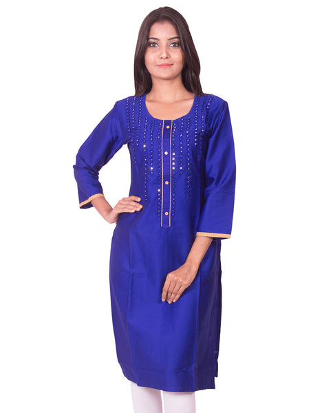 Ink blue with mirror work cotton satin straight-cut kurti from joshuahs