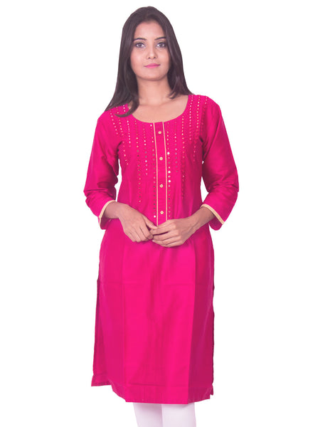 Rani pink with mirror work cotton satin straight-cut kurti from joshuahs