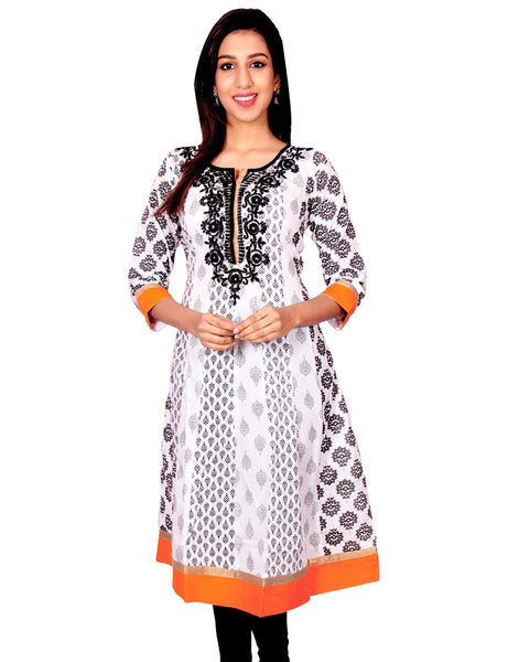 White with Black Printed with Embroidery Work Anarkali Kurti From Joshuahs