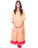 Pale Yellow Printed Back Embroidered Flared Anarkali Kurti from Joshuahs