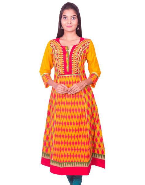 Golden Yellow Front and Back Printed Cotton Flared Kurti from Joshuahs