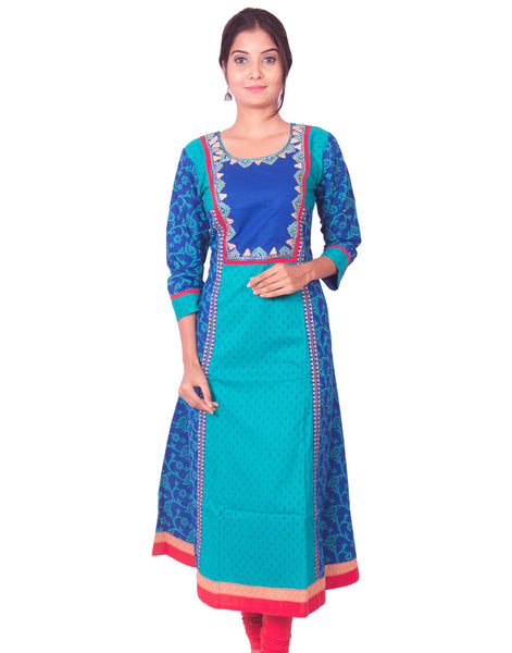 Green and Blue Printed Cotton Wide Flared Long Sleeve Kurti from Joshuahs