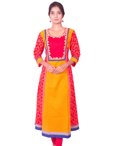 Red and Yellow Printed Cotton Wide Flared Long Sleeve Kurti from Joshuahs