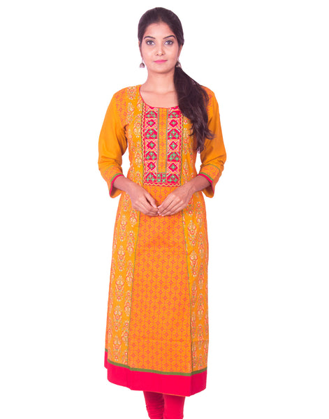 Turmeric Yellow Printed Cotton Wide Flared Long Sleeve Kurti from Joshuahs