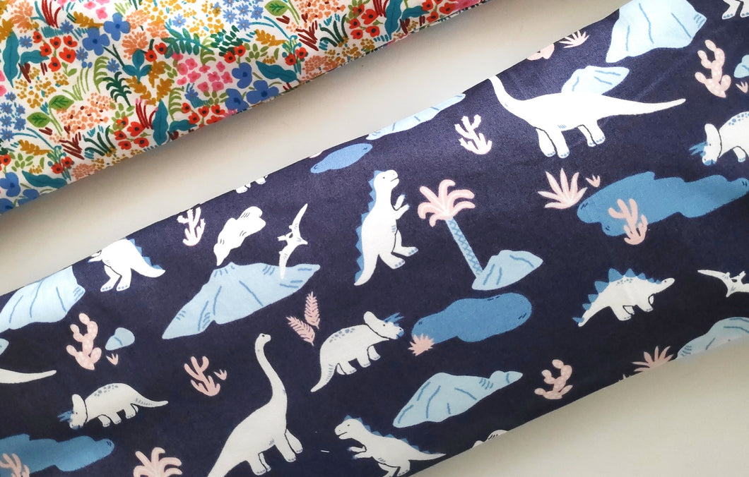 Navy Dinos Beansprout Husk Pillow *Organic Cotton*