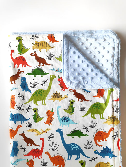 Dinos on White Cloud Blanket